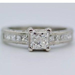 Tacori platinum princess cut diamond ring size 7
